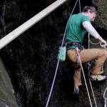 climber uses wood for protection