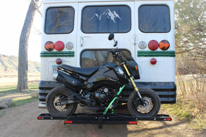 Honda Grom on hitch rack