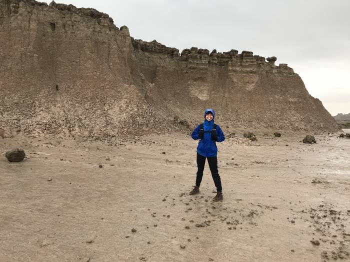 rainy hike in Badlands National Park