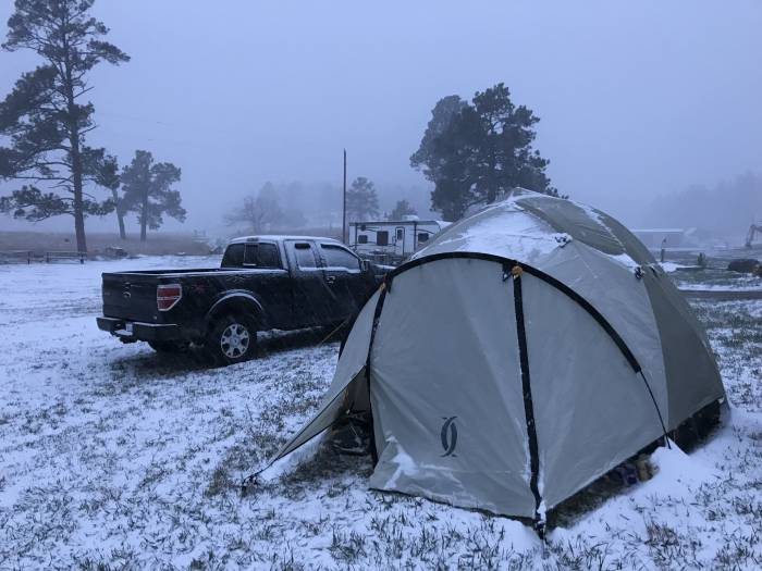 Spring camping in snow