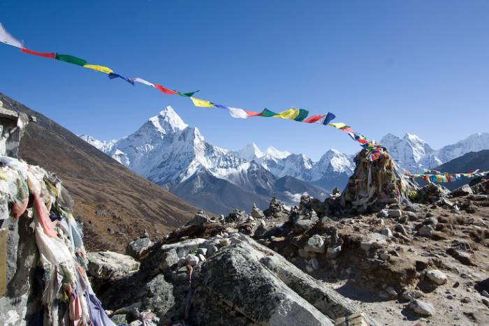 Himalayan prayer flag on Everest