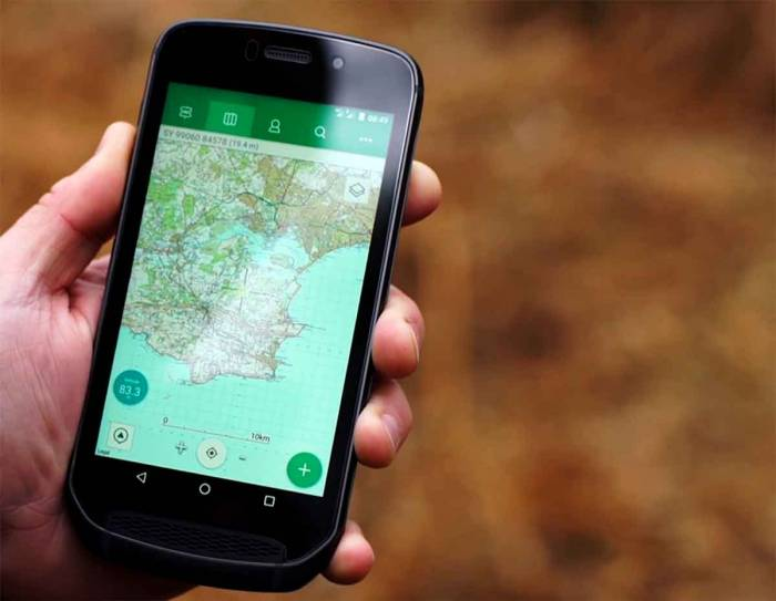 Topo map software comes standard on the Land Rover phone