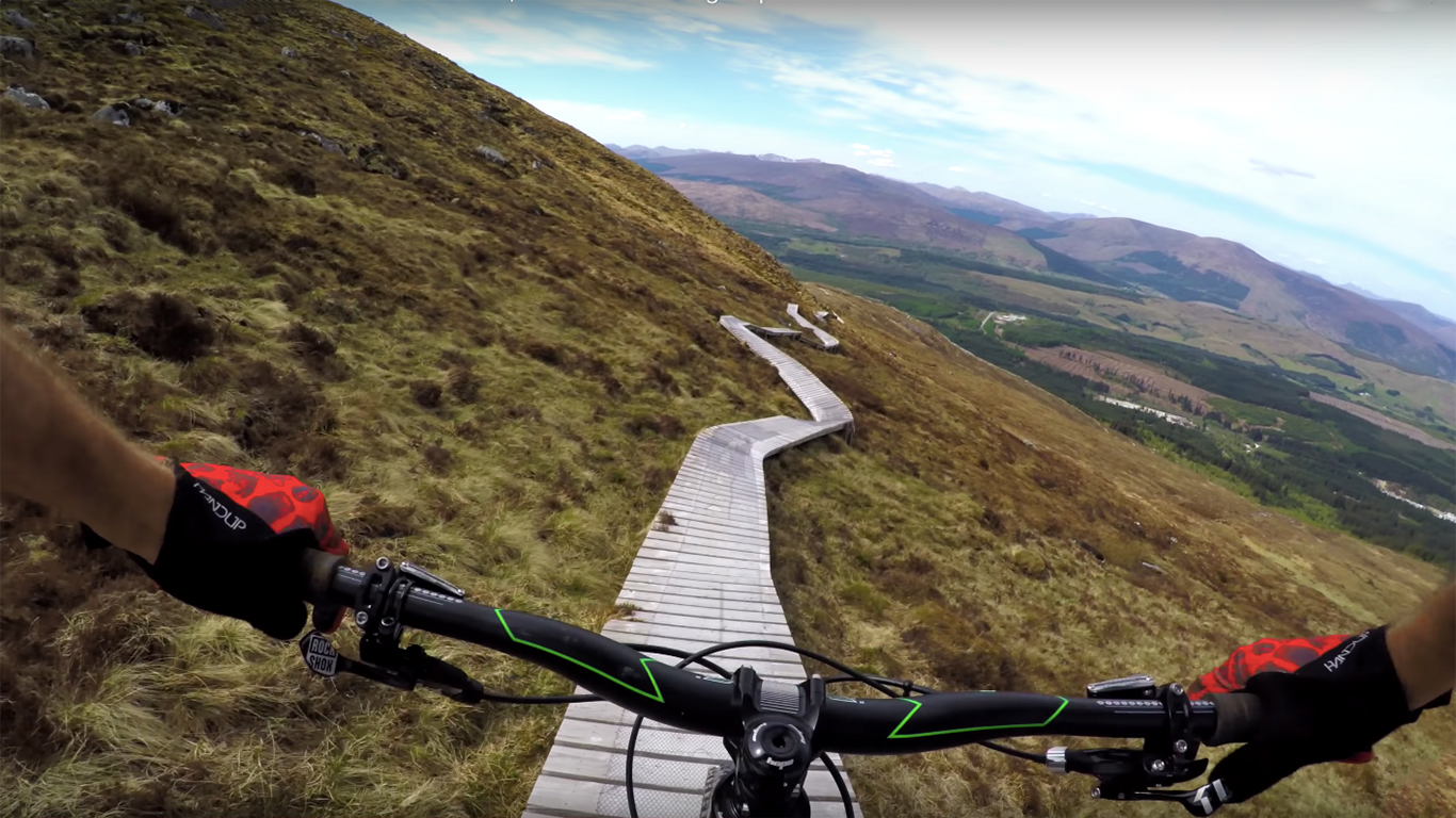 Downhill MTB Boardwalk Will Make You Squirm