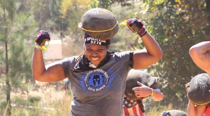 plus size obstacle race runner