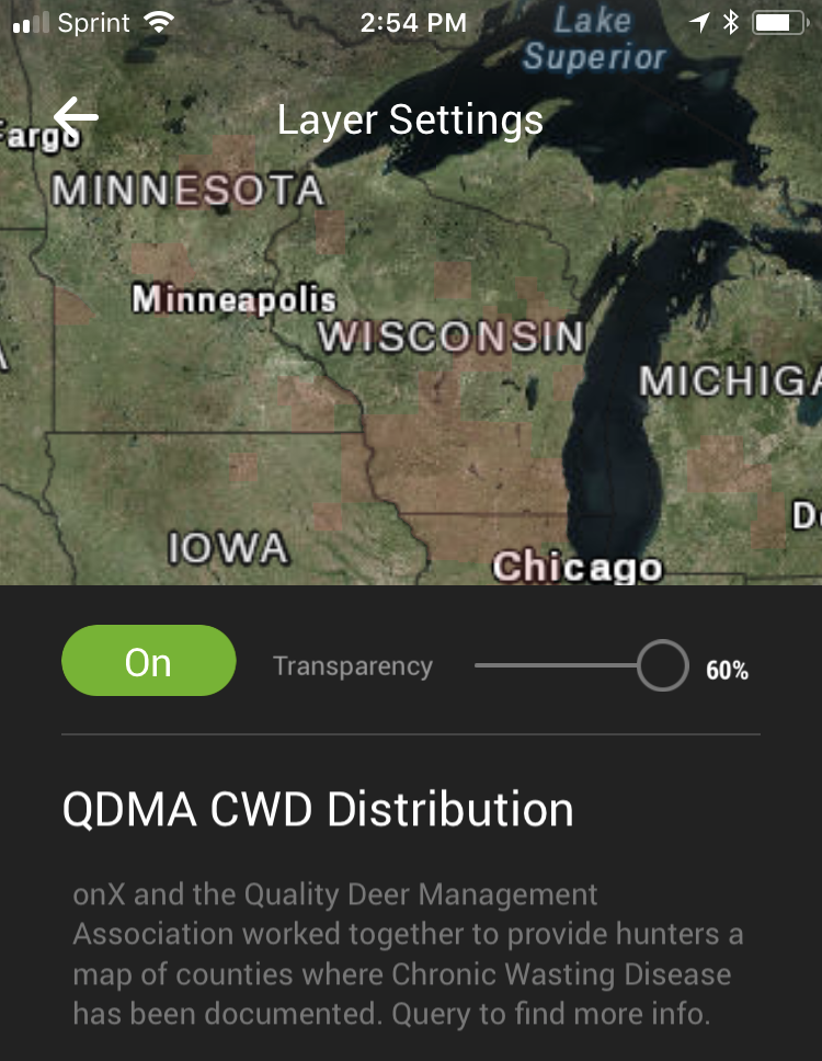 Chronic Wasting Mapped OnX CWD Map Layer - Onx map app