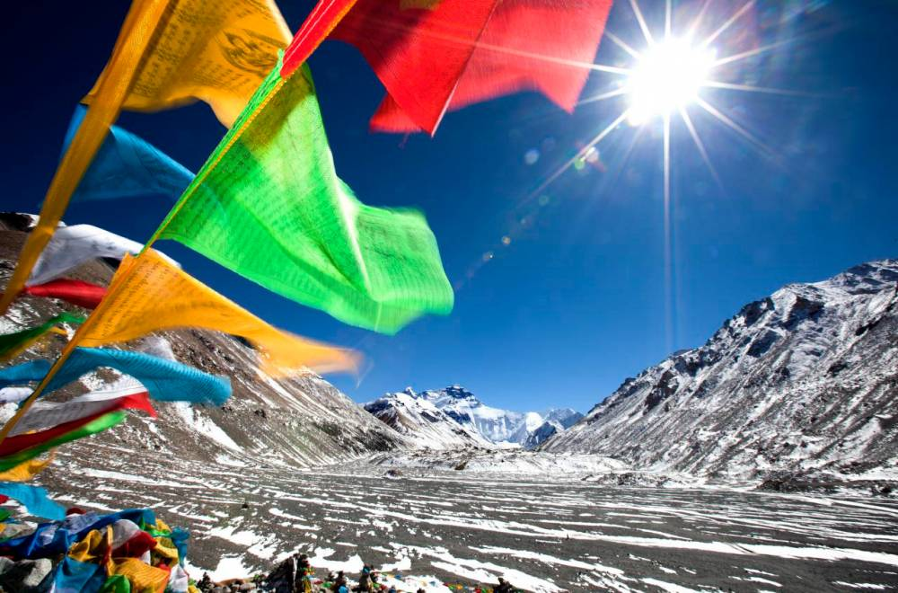 Prayer flags at Everest camp