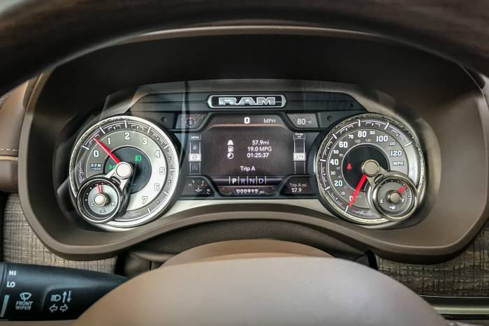 2019 Dodge RAM 1500 High tech and ornamental gauge cluster in Longhorn