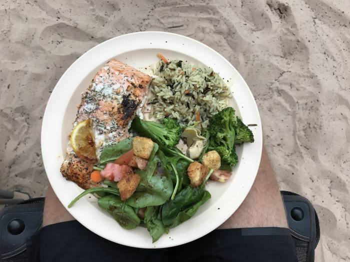 Salmon dinner in the grand canyon
