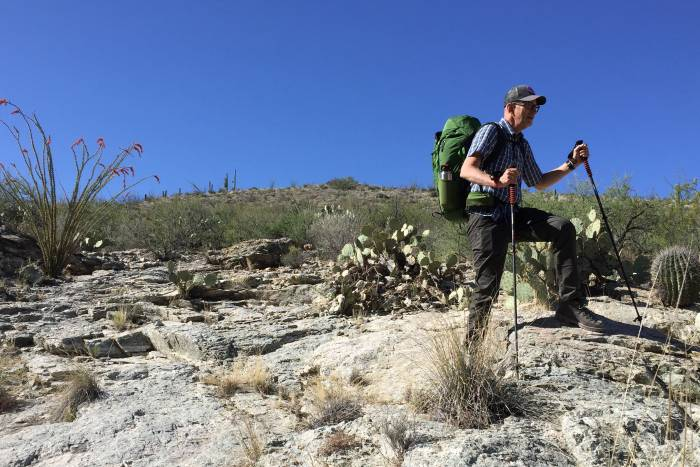 Peter Reese hiking in the desert