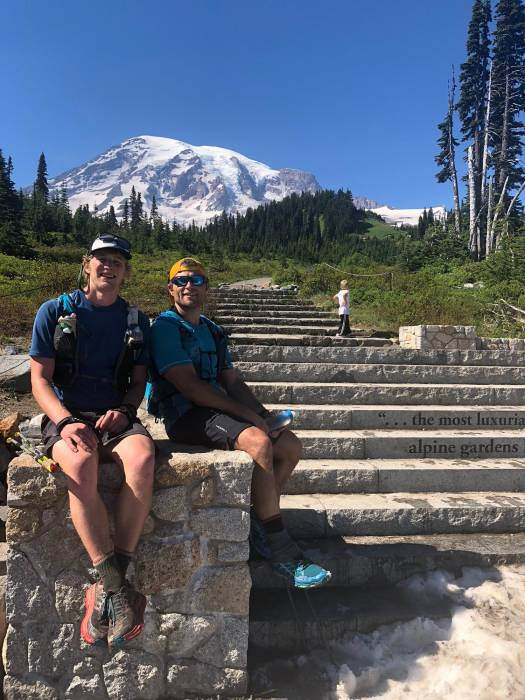Jason and Erik at the finish of the Rainier Infinity Loop FKT