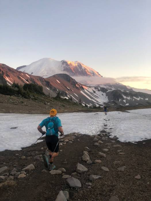 Jason running the final leg of the Rainier Infinity Loop