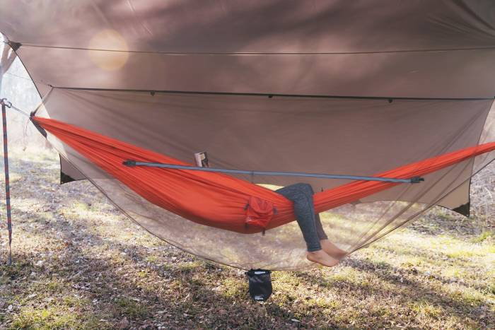Kammok hammock camping setup
