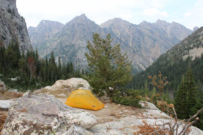 backcountry campsite in Grand Teton National Park