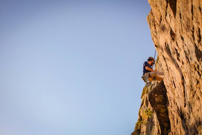 sport climbing outside with friends
