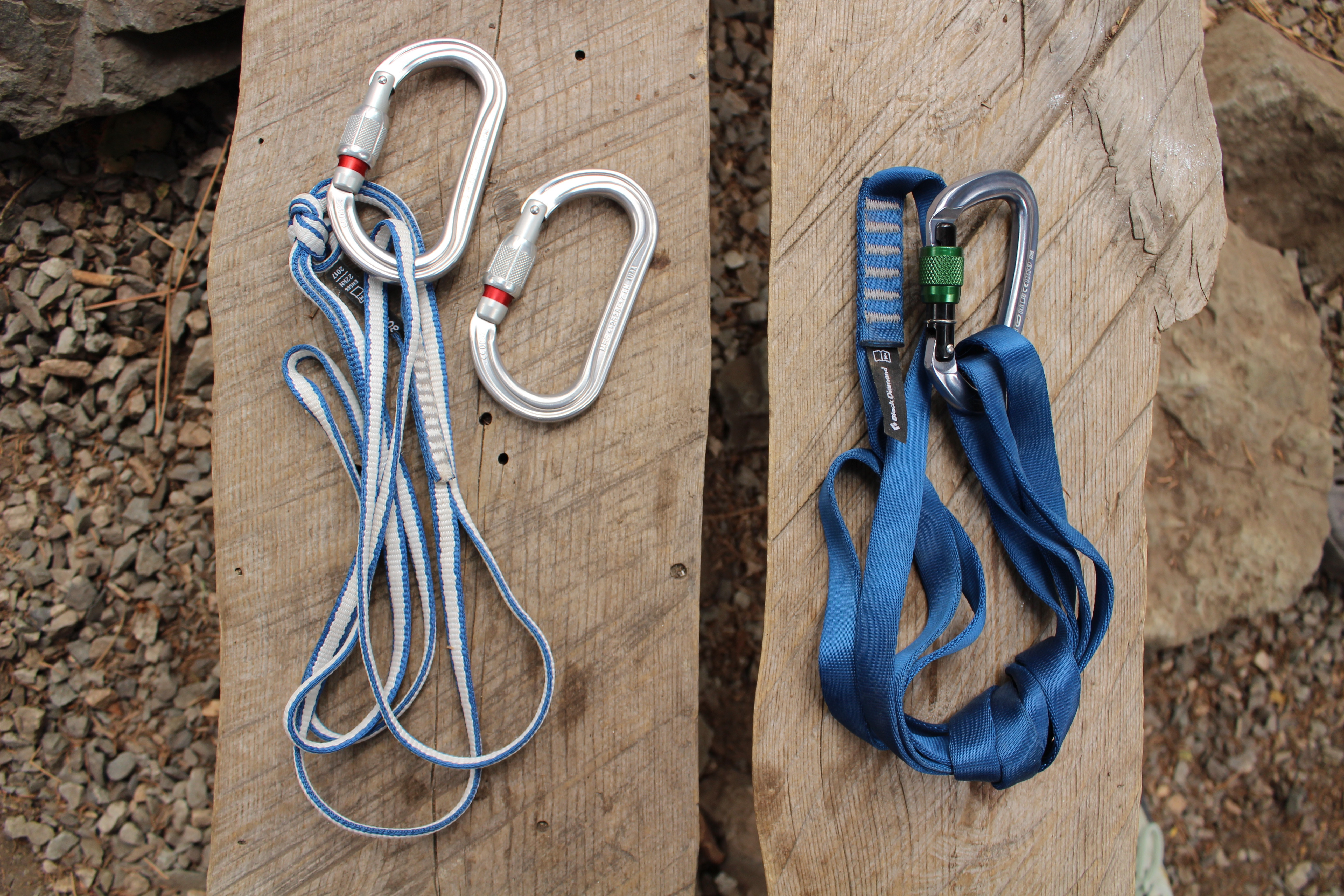 rock climbing slings and locking carabiners