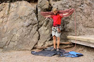 flaking out a climbing rope