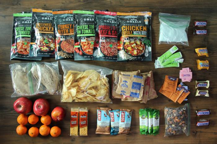 food packing list for backpacking
