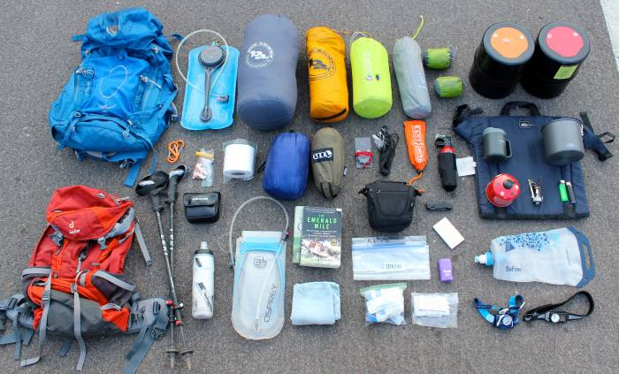 backpacking gear to pack