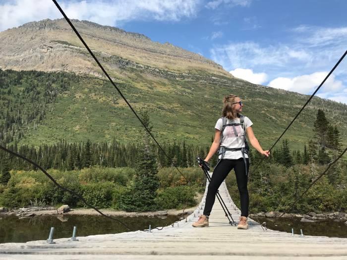 hiking on a bridge