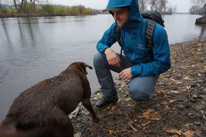 Arc'teryx Zeta FL Blue Jacket River Hike with Dog