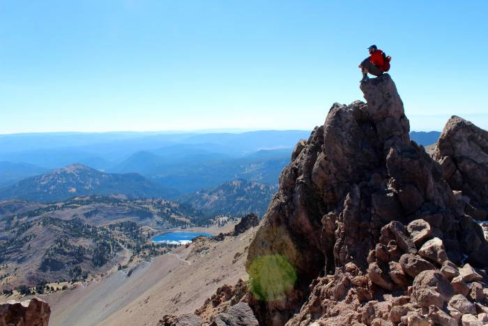 at the top of Lassen Peak