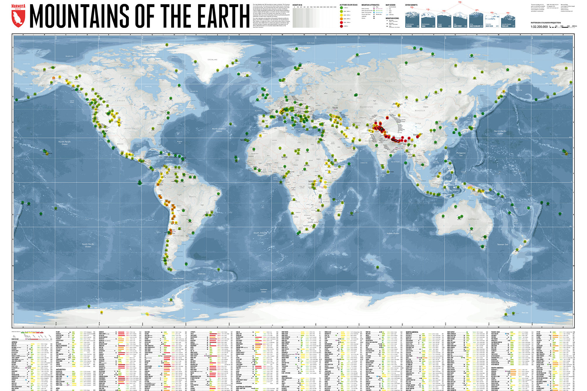 Mountains of Earth map