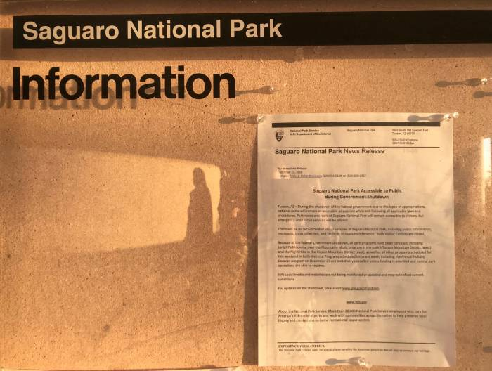 letter on front door of Saguaro National Park