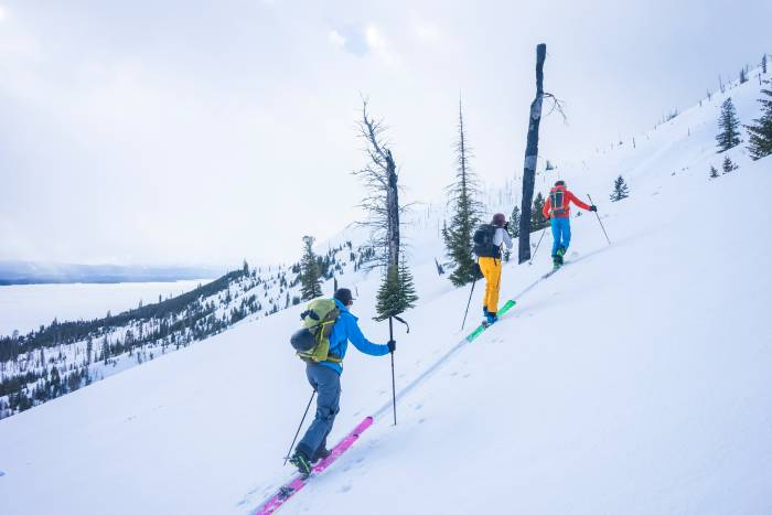 Three skiers going uphill