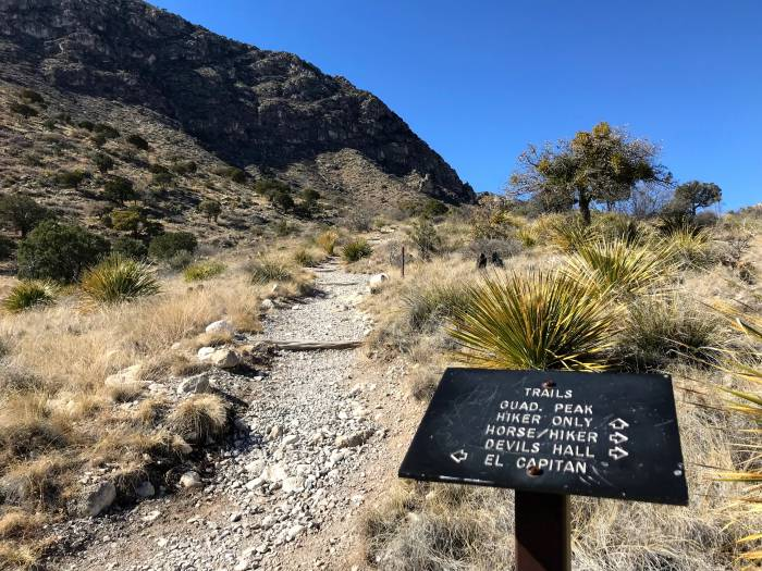 trail sign on the Guadalupe Peak trail