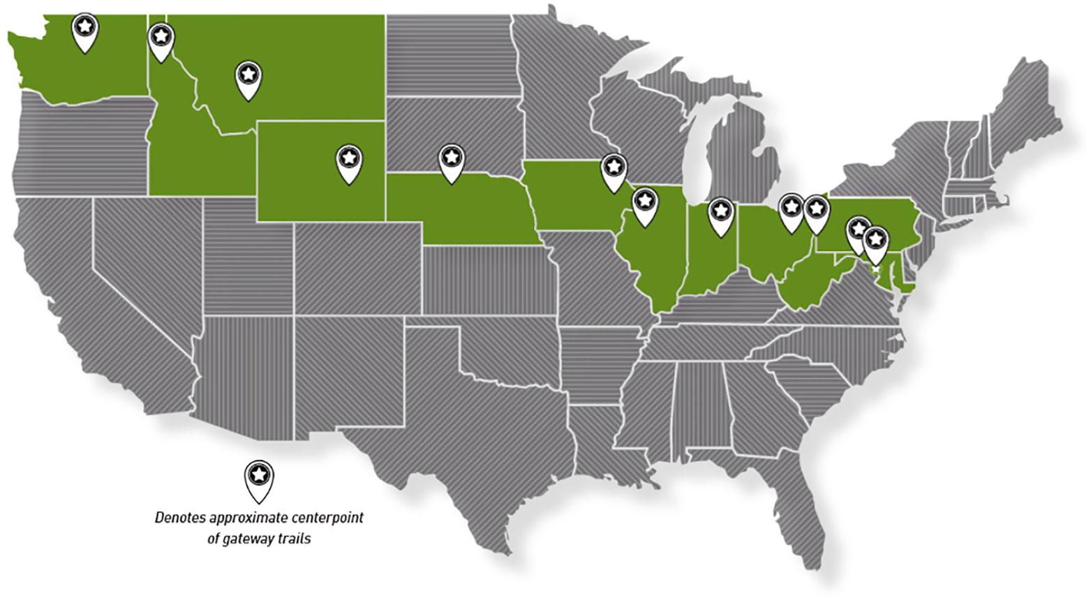 Great American Rail-Trail map