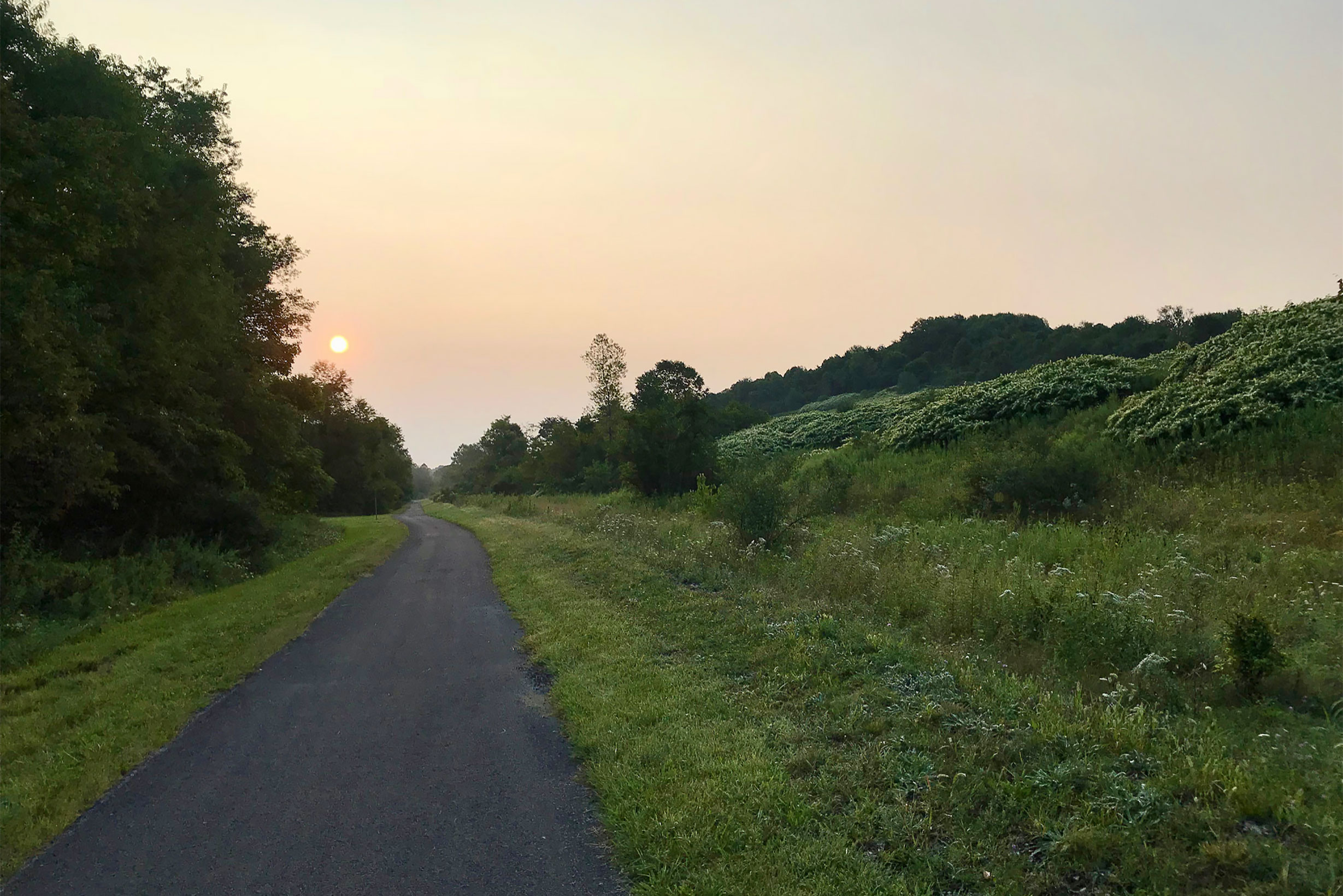 Panhandle Trail bike path sunset