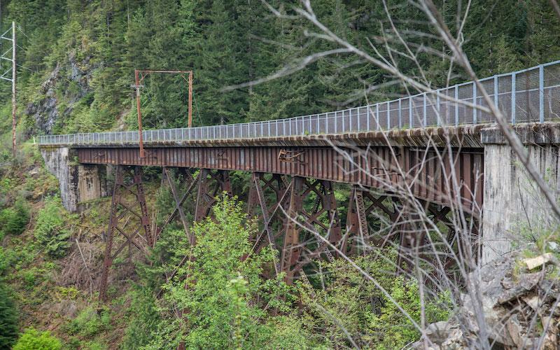 Washington's Palouse to Cascades State Park Trail bike path passes over a bridge