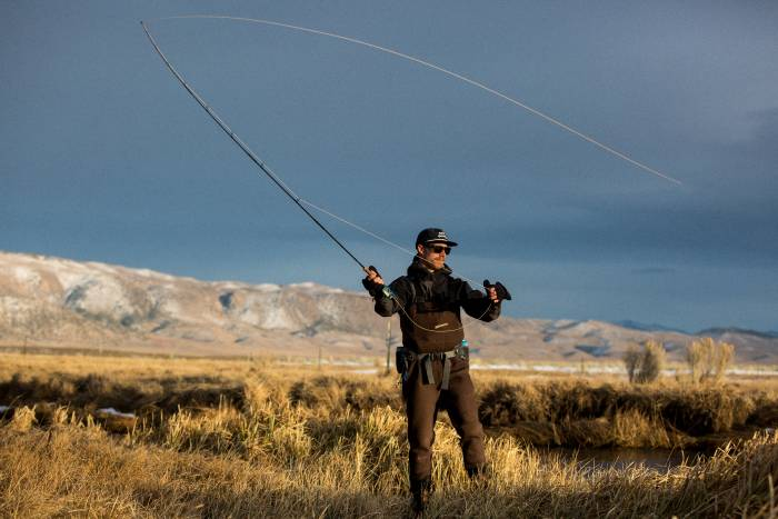 The author using his custom fly rod