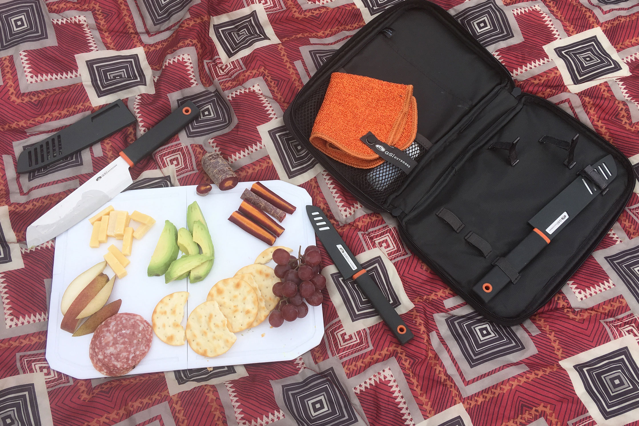 Picnic with GSI Santoku Knife set charcuterie plate