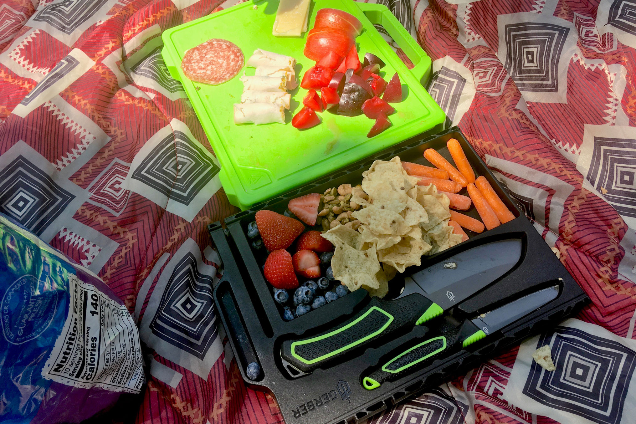 Picnic charcuterie with Gerber Freescape camp knife kit