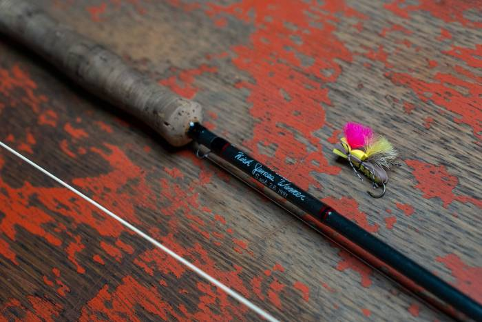 Custom Powell fly rod with author's name and birth date