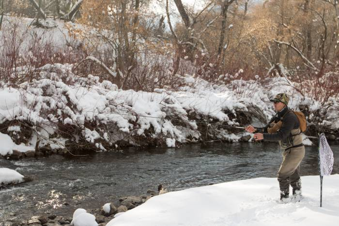The author fishing the Orvis Helios 3F fly rod