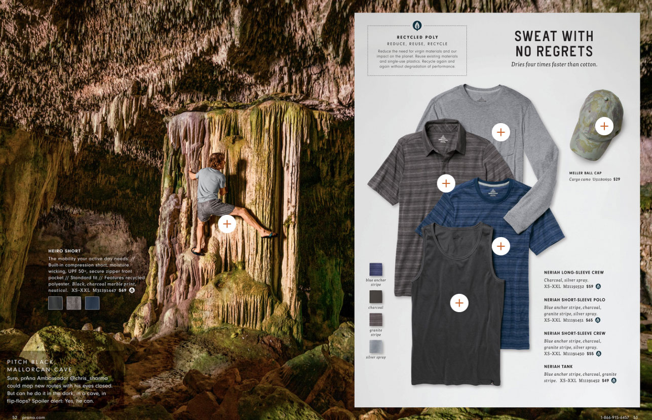 Chris Sharma climbing stalactite in prAna Spring 2019 catalog