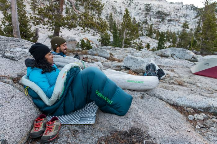 Two people in Therm-a-Rest sleeping bags