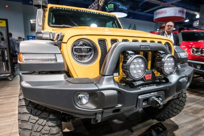 American Expedition Vehicles front bumper on yellow Jeep Wrangler JL