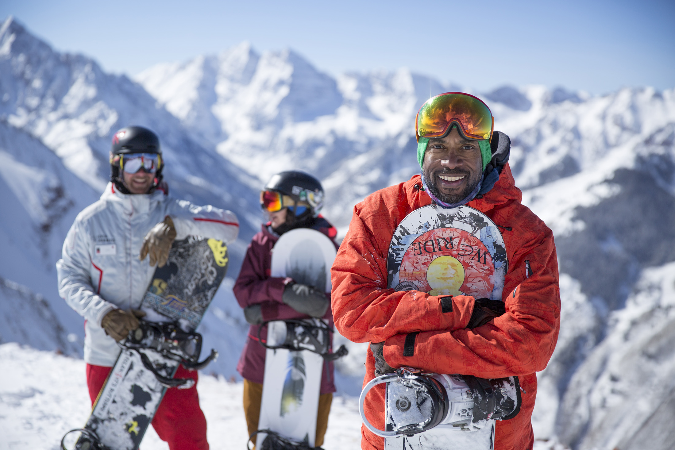 3 snowboarders in Aspen, Colorado