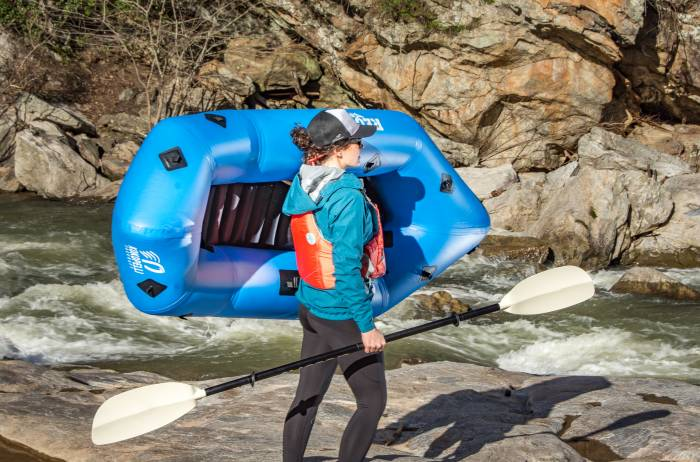 GJ contributor Mallory Paige carrying the Kokopelli Recon Whitewater Packraft