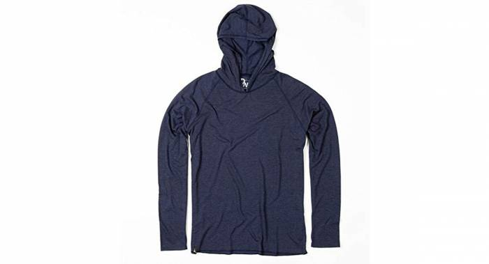 A lightweight wool base layer with a hood