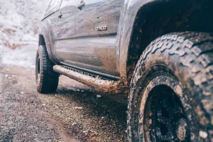 Closeup of author's muddy Falken Wildpeak A/T3W tires