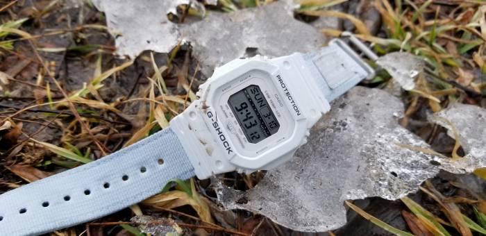 Casio G-Lide watch on icy ground