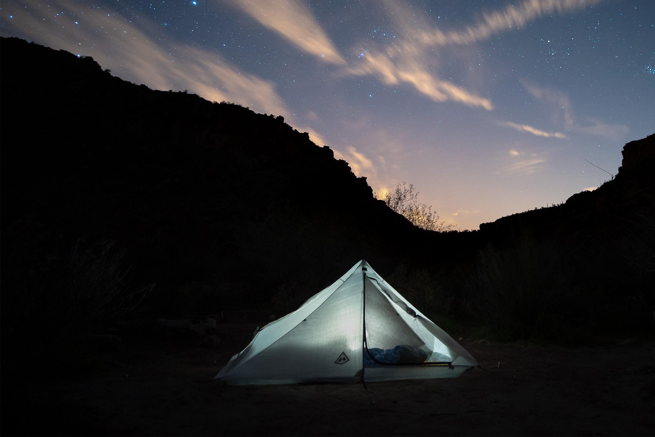 Dirigo 2 tent under the stars