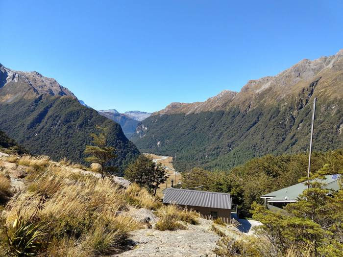 Hut on the Routeburn Track in New Zealand