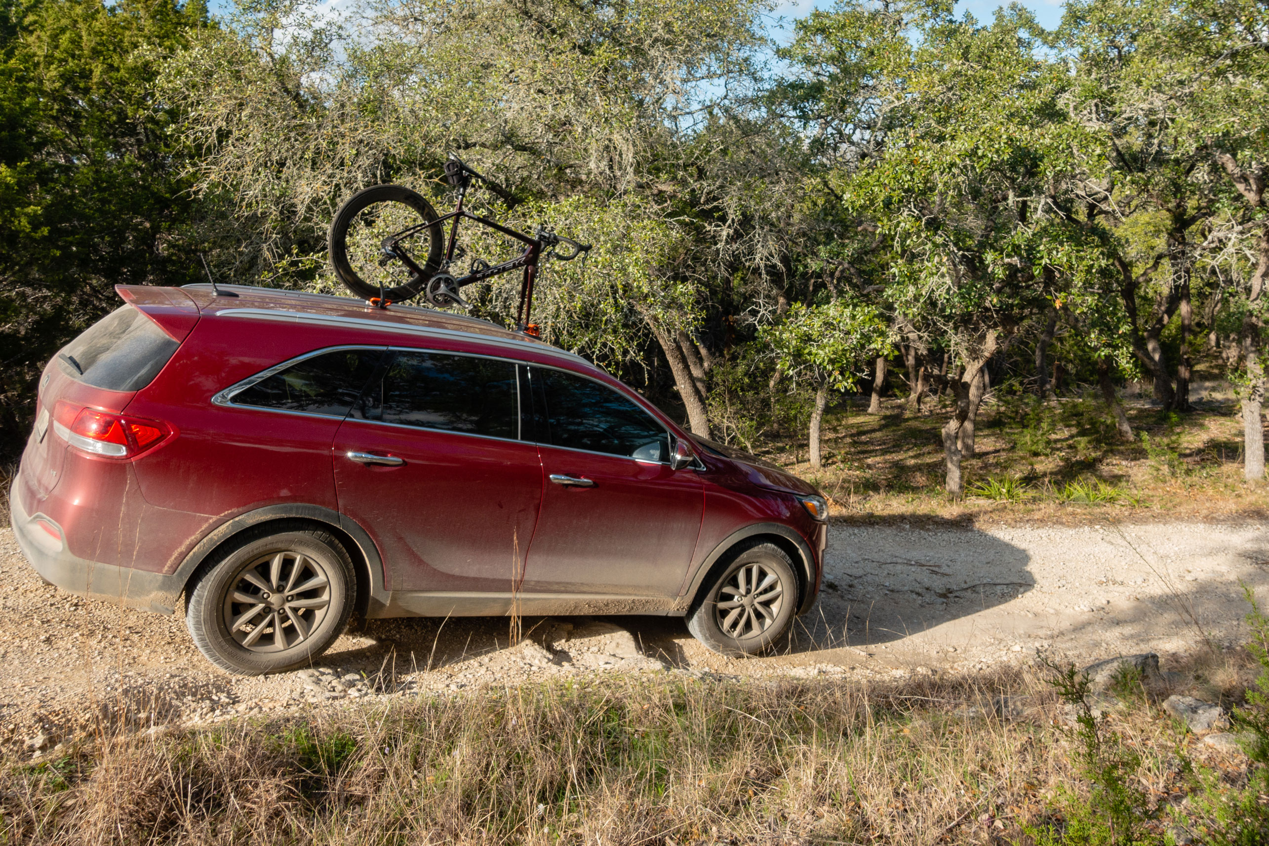 Kupper Mounts Bike Carrier on SUV, dirt road