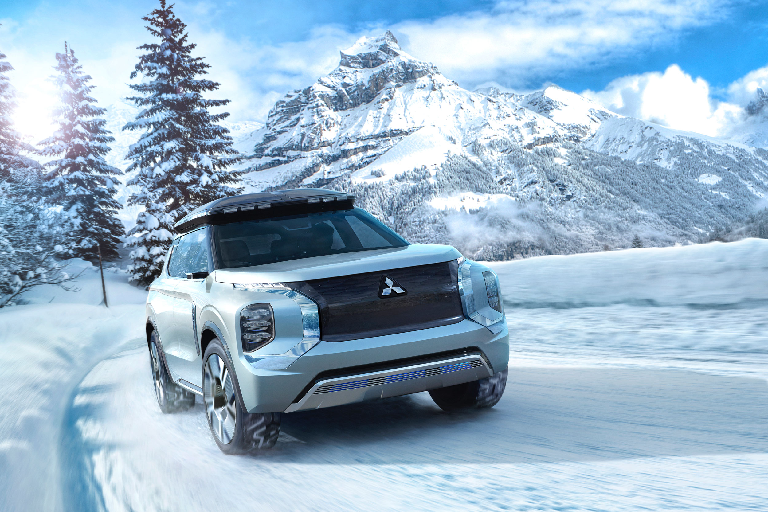Mitsubishi Engleberg Tourer concept hybrid SUV winter driving mountains