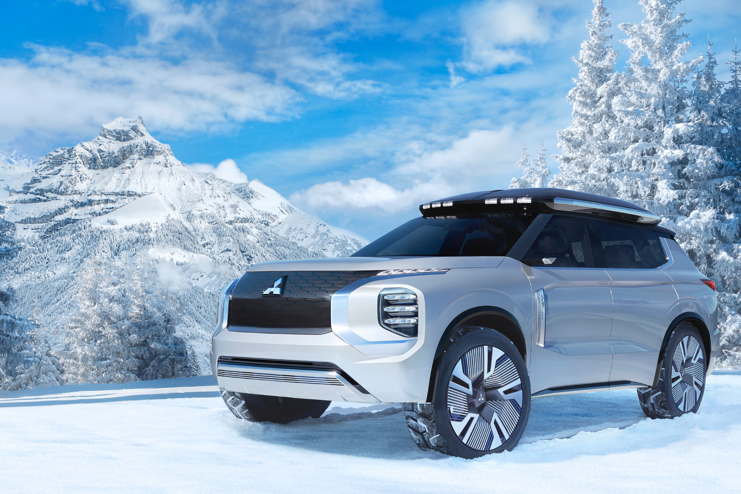 Mitsubishi Engleberg Tourer concept hybrid SUV in the mountains